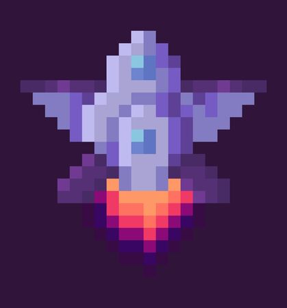 Retro spaceship, pixel art sign in 8 or 16 bit game in dark night sky. Vector starship in universe, pixel-art play and burning rocket ship on purple, pixelated cosmic object for mobile app games Illustration