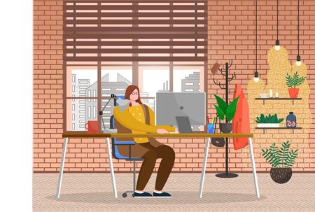 Young woman work on laptop in room. Lady sit on chair by table in homelike cabinet. Interior of office with decor like plants. Big window with cityscape. Vector illustration of workplace in flat style
