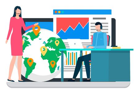 People working at postal office. Man and manager talking about work. Pointer show location on world map for delivery, worldwide transportation. Data graph and diagram on web page. Vector illustration