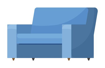 Sofa with blue textile upholstery. Furniture, soft place for rest for flat or house. Cozy home interior for living or drawing room. Couch isolated on white background. Vector illustration in flat