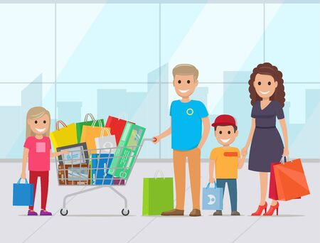 Happy family with two kids shopping in supermarket. Parents with their children make purchase in store. Buyers carrying bags and trolley full of goods