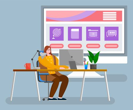 Woman sit on chair by desk at office alone. Person work on computer and big monitor behind her with desktop. Screen with icons, media and network, communication and education. Vector illustration