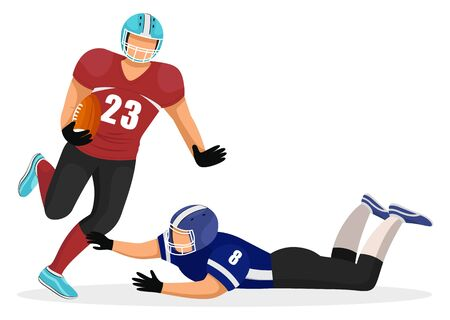 American football players of different teams. Man fell down trying to make obstacles for rival. Competitive and aggressive kind of sports. Gridiron game, traditional hobby of usa, vector in flat