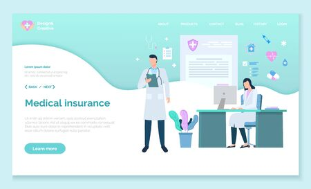 Medical insurance specialists dealing with healthcare problems and issues. People working in laboratory giving prescriptions and diagnosis. Consultants at work, website or webpage template, vector