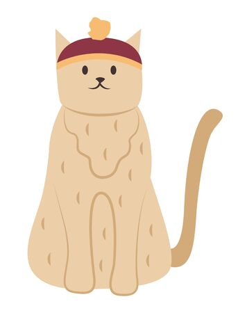 Furry cat wearing funny hat, isolated feline creature with coat sitting still. Resting pet with tail and paws. Mammal face with whiskers. Portrait of domestic cat in close up vector in flat style