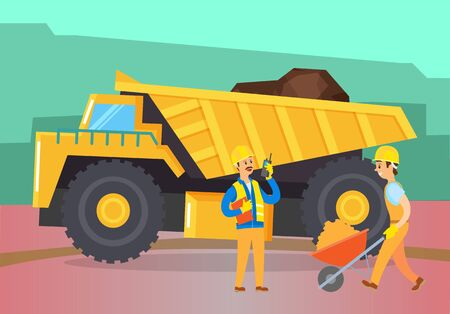 People and machinery in field working on construction of new buildings or excavation of minerals. Mining industry characters and devices. Tractor loaded with soil or coal fossil fuel, vector Ilustrace