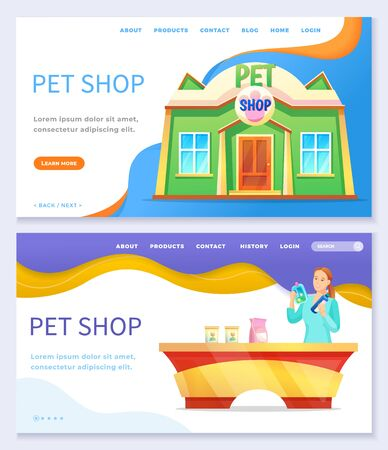 Collection of pet shop website or webpage template. Store for animals, exterior facade of building and seller at counter. Landing page with information of business and header, vector in flat style Ilustração