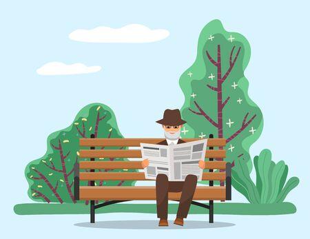 Vieil homme assis sur un banc en bois dans le parc et lisant le journal. Newsletter avec des informations pour se faire connaître des nouveautés. Beau paysage avec arbres verts et arbustes. Illustration vectorielle dans un style plat
