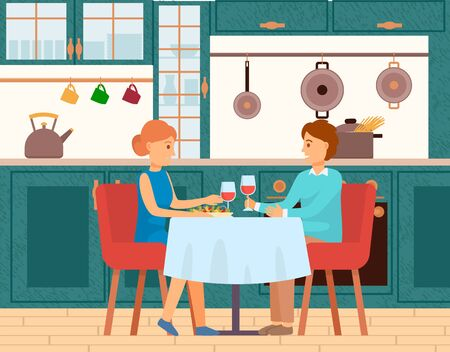 Smiling man and woman dinning together in kitchen or restaurant. Dating of couple at table with glass of wine and salad. Interior view of room happy people eating, furniture with tableware vector Ilustracja