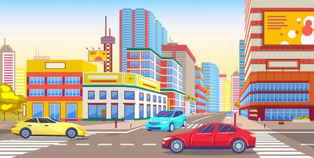 City downtown street with vehicles. Transportation in town with skyscrapers and modern buildings. Urban landscape with houses and cars, contemporary cityscape or townscape. Vector in flat style