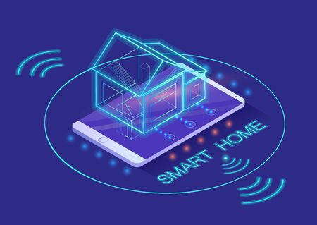 Smart home with ai controlled by smartphone of owner. Telephone and wifi signs, house on phone. Modern system of atomization. Innovative technologies for houses, vector in isometric 3d style