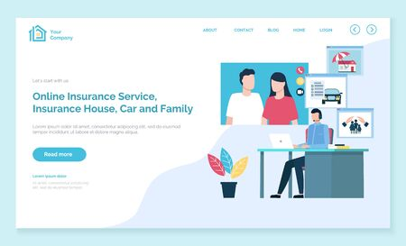 Healthcare, medical insurance, individual and family pack, house protection landing web page template vector. Health security, medicine service. Property safety, emergency payment illustration