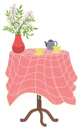 Table in kitchen with stuff for drinking tea or coffee. Tablecloth checkered and vase on it red with blossom flowers. Blue kettle and two yellow cups. Vector illustration in flat style