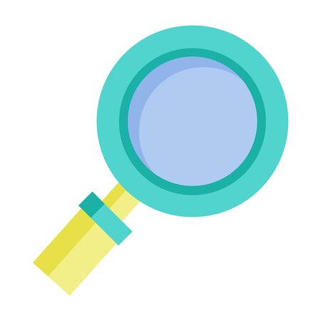 Magnifying glass isolated icon. Zooming instrument tool for enlarging objects. Symbol of research r investigation, solution finding sign. Magnification device with wooden hand, vector in flat