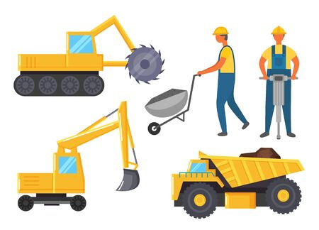 Vehicles that used in mining industry. Miners stand near lorry and bulldozer. Yellow industrial machine for transport raw and digging quarry. People bore earth to get coal. Vector illustration in flat