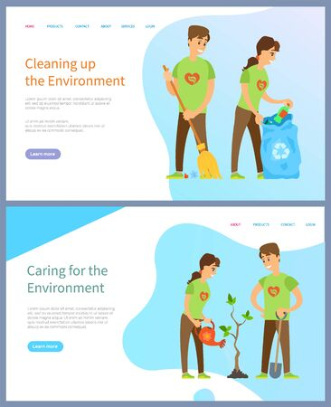 Cleaning environment vector, volunteering man and woman with bag full of waste, growing tree and watering plant, social workers helping planet. Website or slider app, landing page flat style Illusztráció
