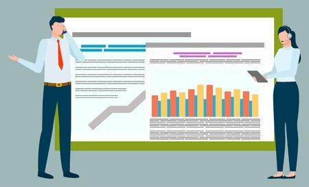 People conducting researches and business analysis vector, man and woman with gadgets. Projects information on board, data success of company flat style Stock Illustratie