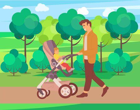 Enfant et papa sur vecteur de marche, nature et verdure du parc forestier, père et enfant assis dans la poussette et regardant le feuillage et les arbres naturels, concept pour la fête des pères