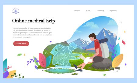 Medical worker online helping hiking man, person with injured knee in mountains. Patient with smartphone help online first aid consultation. Holographic projection of doctor. Landscape with greenery
