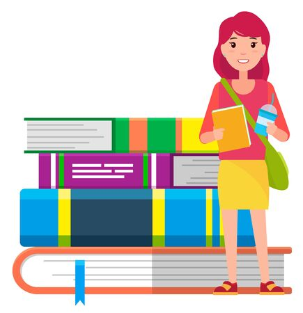 Girl with copybook, beverage and handbag ready for studying. Young student stand near big hardcover educational books. Knowledge and attainments open door to success. Vector illustration in flat style