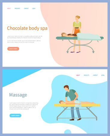Chocolate body spa and massage vector, beauty procedure. Woman and man on table and masseur or beautician, skincare and healthcare online appointment order