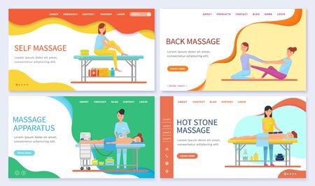 Set of massage techniques and types. Self and back massage, relaxation for clients with help of hot stones. Apparatus for therapy. Website or webpage template, landing page, vector in flat style Ilustração