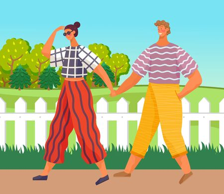 Happy young girl in sunglasses holding hands with her handsome boyfriend, in love people walking in the park on the road. Romantic couple walking together outdoors. Cute cartoon vector characters
