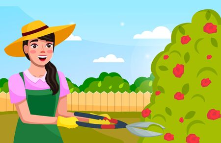 Portrait of young long-haired brunette woman in hat, uniform holding secateurs cutting rose bushes in the garden. Cartoon vector character working in the garden. Cute female gardener at sky background