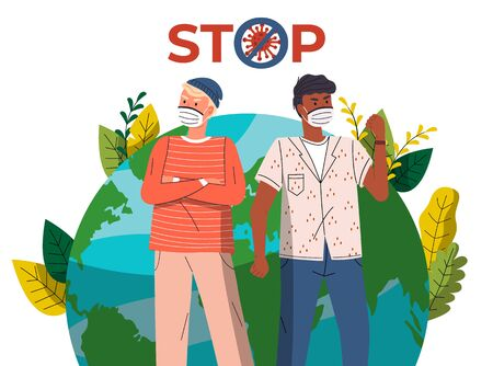 Young guys wearing face medical masks protesting from spreading dangerous virus at planet earth background. Prevention, crossed out sign. Concept of world pandemic. Vector cartoon characters