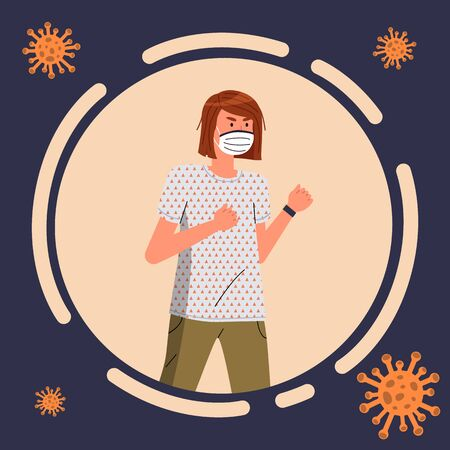 Cartoon avatar of young woman wearing face medical mask isolated in circle, flying virus pathogen around. Brunette female show fight gesture to virus spreading. Cartoon character in flat vector style