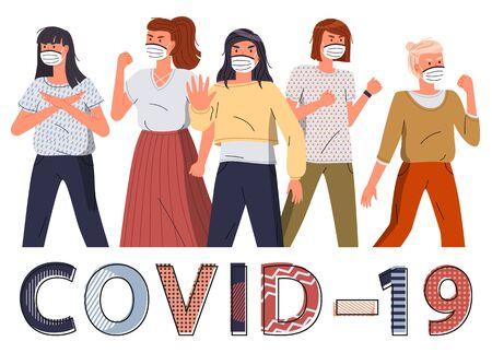 Menigte van vrouwen met gezichtsbeschermende medische maskers die protesteren tegen de wereldepidemie. Groep karakters roept op om te stoppen met het verspreiden van virussen. Begrip covid-19. Stop gebaar, vector stripfiguren