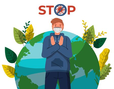 Young man in face medical mask ast to stop spreading virus at earth background. Concept of coronavirus world spreading. Stop gesture, crossed out sign with virus. Quarantine concept, world pandemic