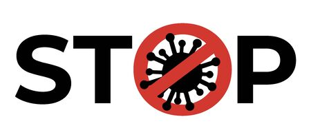 Banner with stop sign, crossed out virus at white background. Concept of world epidemy. Stop spreading virus pandemic. Sign caution covid-19. Prevention poster for website or app. Warning icon