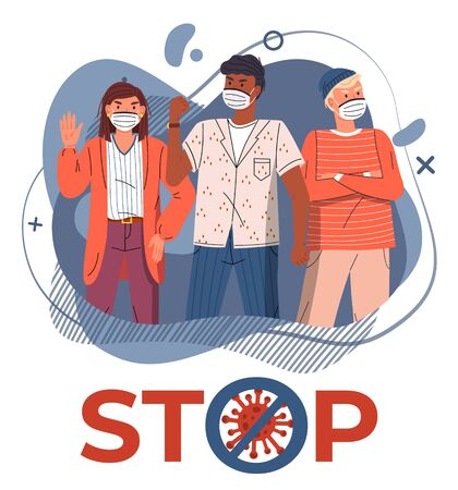 Young multinational people wearing face medical masks protesting against world epidemic at background of blue vector elements. Stop spreading coronavirus. Crossed out sign. Cartoon characters
