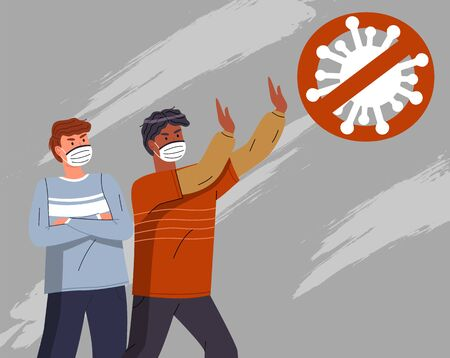 Two young mix race men wearing face medical masks show stop gesture to crossed out virus sign. Attention to world pandemy. People protesting against spreading virus pandemic. Cartoon characters