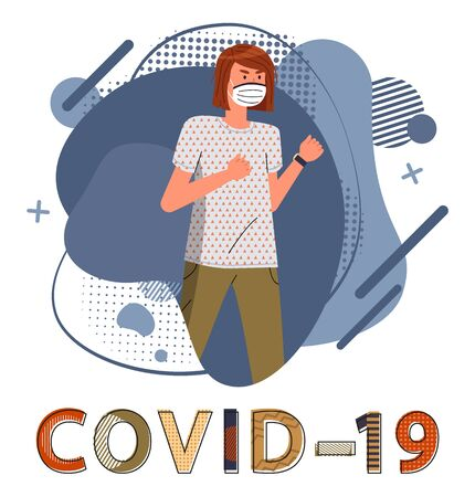 Young girl wearing respiratory medical mask ready to fight against spreading of covid-19. Blue abstract vector elements at the background. Stop world epidemy. Cartoon character in flat style
