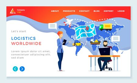 International company dealing with shipping of orders and worldwide delivery. People working in logistics company tracking freights in transport. Website or webpage template, landing page vector