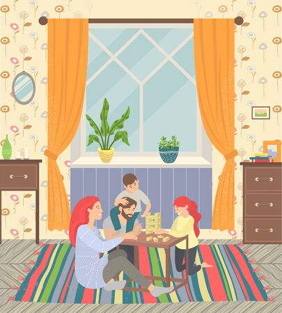 Happy family of parents and children at home on floor playing games. They sitting on carpet and play  . Happiness and cosiness. Mother and father, son and daughter. Vector illustration flat style