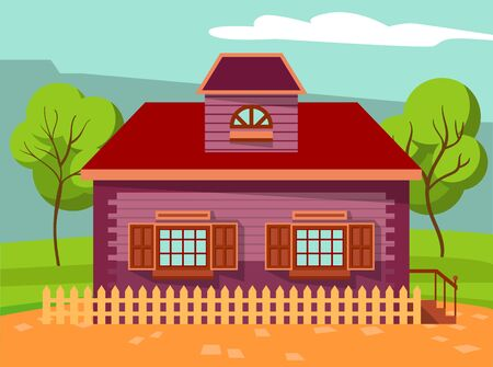 Building made of wooden material vector. Rural area or small town with greenery of nature. Home with trees and fence. Spring or summer season in city. House with windows and porch flat style