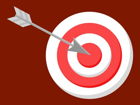 Board competition dartboard with aims in different colors and arrows, bullseye and target isolated on red. Circle shoot symbol for goal strategy or win. Learning element with accurate object vector