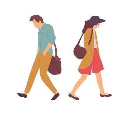 Quarrel couple, man and woman going in different directions isolated cartoon people. Vector disagreement between boyfriend and girlfriend, misunderstanding