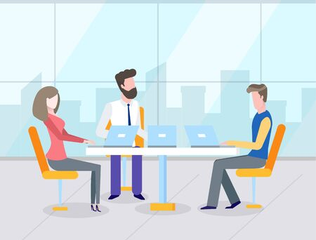 Business teamwork, man and woman workers using laptop at table, office with panoramic window. Colleagues discussing work, corporate strategy vector
