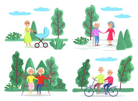 Man and woman at spring park, elderly couple on bench or walking vector. Grandmother with baby pram, couple holding hands or riding bicycle. Outdoor pastime, nature and warm weather illustration