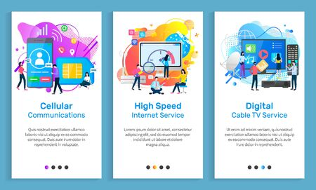 Cable TV vector, cellular communication, high speed internet service for clients, people with gadgets and devices, screens and monitors set. Website or slider app, landing page flat style