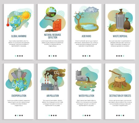 Overpopulation vector, global warming and waste disposal, air pollution and deforestation, forest destruction, acid rains and resource depletion. Website or slider app, landing page flat style