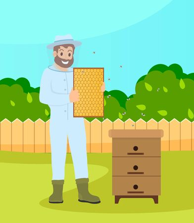 Bearded beekeeper wearing protection suit hold a honeycombs standing at the bee-garden near hive with flying bees at summer. Apiarian costume. Beekeeping hobby. Vector cartoon style illustration