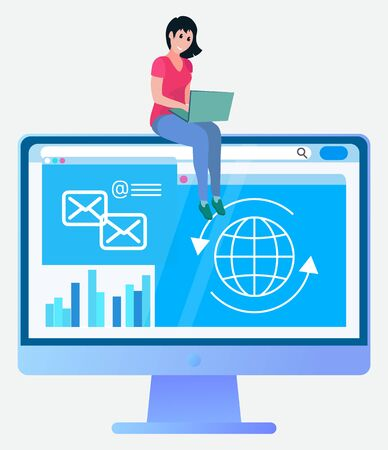 Woman using laptop, monitor of computer with email. Businesswoman communication with pc, accounting and working with device, workplace online vector Çizim