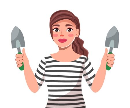 Vector character at white background. Young beautiful brunette woman with long hair holding two shovels in hands. Portrait of cute female wearing striped t-shirt and with gardening tools in hands