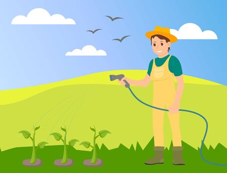 Woman wearing hat and uniform is watering meadow with green plants with a water hose. Agricultural works at summer. Vector illustration with cartoon character. Farmer working at meadow in village
