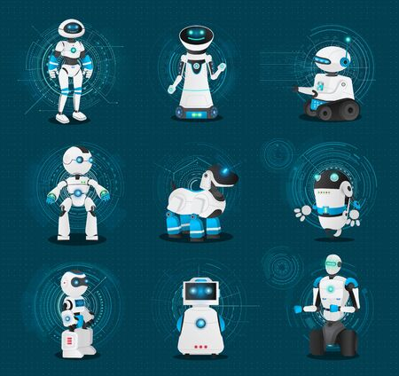 Set of robotic creatures. Collection of humanoids and androids of different shapes and model. Robot dog and bot on wheels. Futuristic characters with artificial intelligence, vector illustration